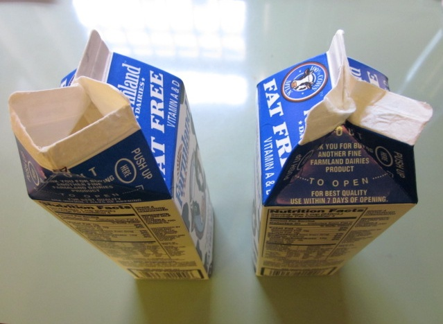 Open Milk Carton Twin cartons -- easy-to-open