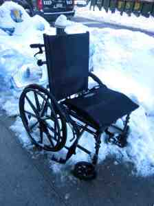 """Hey look, I found Granny's old wheelchair! Put it outside or what?"""