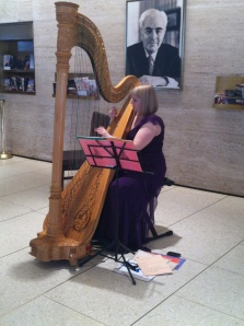 No bland muzak here; guests were serenaded by this fine harpist.