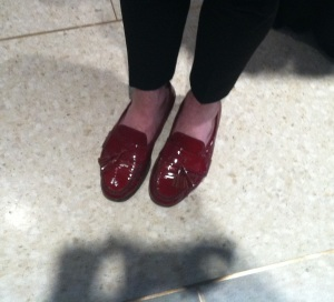 We both agreed that this gent's red patent leather tassled loafers were great.