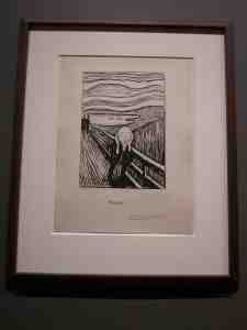 The Scream. Lithograph. 1895. Signed in 1896 (Guess Munch had higher priorities before he got around to signing.)
