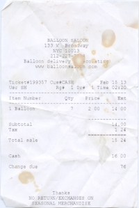 Balloon receipt complete with character building rotisserie chicken stains.
