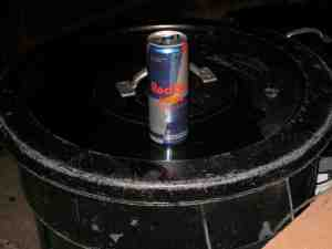 Can of Red Bull atop trash can outside my building when I returned home. I would have needed at least three to retain some semblance of consciousness during that play.