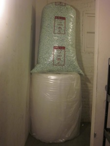 Bubble wrap and packing pellets in the hallway at The Grind.