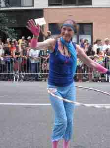 Hula hoop lady.