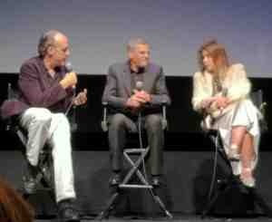 Sitting at left moderator Kent Jones with director Abdellatif Kechiche and actress Adèle Exarchopoulos.