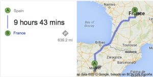 Google maps Spain to France
