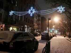 Still festive on Thompson Street.