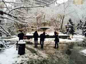 Milton's photo of City Hall Park looking pretty, but looks are deceiving. This is white Hell.