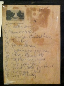 The set list John Lennon wrote for the Beatles first concert in the US.