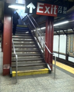 Downtown 72nd Street subway station staircase I have climbed down countful (considering the nature of this post) times.