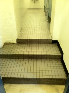 Example of miscellaneous steps: steps leading into off-Broadway theater bathroom.
