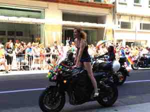 Glam Dyke on Bike at parade's start.
