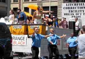 """Orange is the New Black"" float, substitute image for third Grand Marshall, LaVerne Cox, a member of that show's cast."