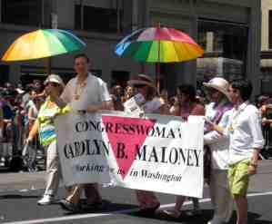 New York Congresswoman Carolyn Maloney, a regular Pride attendee.