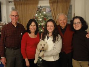 Chirstmas 2012 (l to r) Axel, Dovima, Sweet Pea holding Thurber, Dad, Me photographed by Herb.