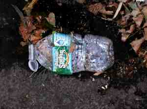 Lucky crushed water bottle.