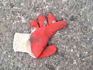 Lucky glove in street.