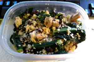 Mid-day meal now: organic cous cous, mushrooms, kale and black beans.