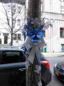 Second tree in blue and silver: a shout out to those that celebrate Hannukah?