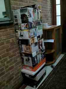 These magazine paper wrapped boxes sat in the vestibule for several days last spring.