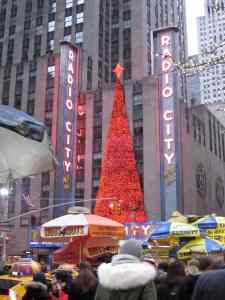 Radio City Music Hall's glitz - a light show rather than an actual tree.