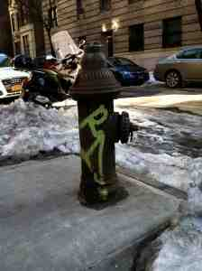 West 73rd Street hydrant: graffiti covered but otherwise immaculate.