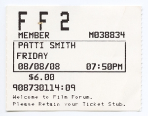Proof of my sister, Dovima's claim that we're a family of hoarders: Film Forum ticket stub circa 2008.