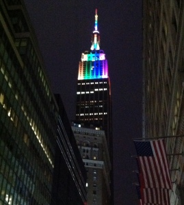 The Empire State Building celebrating Pride.