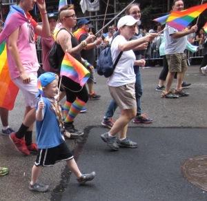 Little kid marching.