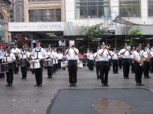 "New York Police band playing ""Here Comes the Bride."""