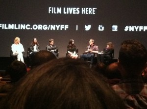 Carol q&a with from left to right, Cate Blanchett, producer Elizabeth Karlsen, Phyllis Nagy, Rooney Mara, Todd Haynes, Amy Taubin