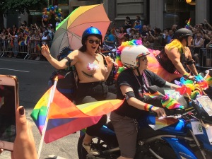 Dykes on bikes at parade's start.